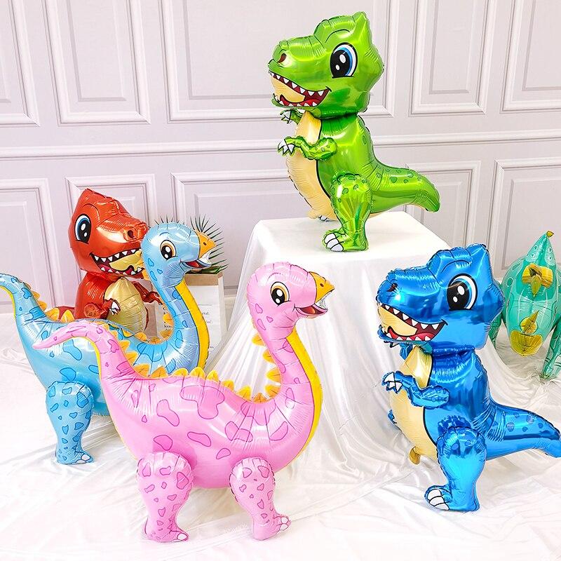 1 pc 4d dinossauro balões folha de pé verde dinossauro vermelho dragão decoração de aniversário fontes festa menino crianças brinquedos hélio globals