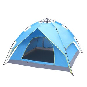 【US Warehouse】2-3 Person Double-Deck Tow-Door Hydraulic Automatic Tent  Build Outdoor Tent Blue (Tent)