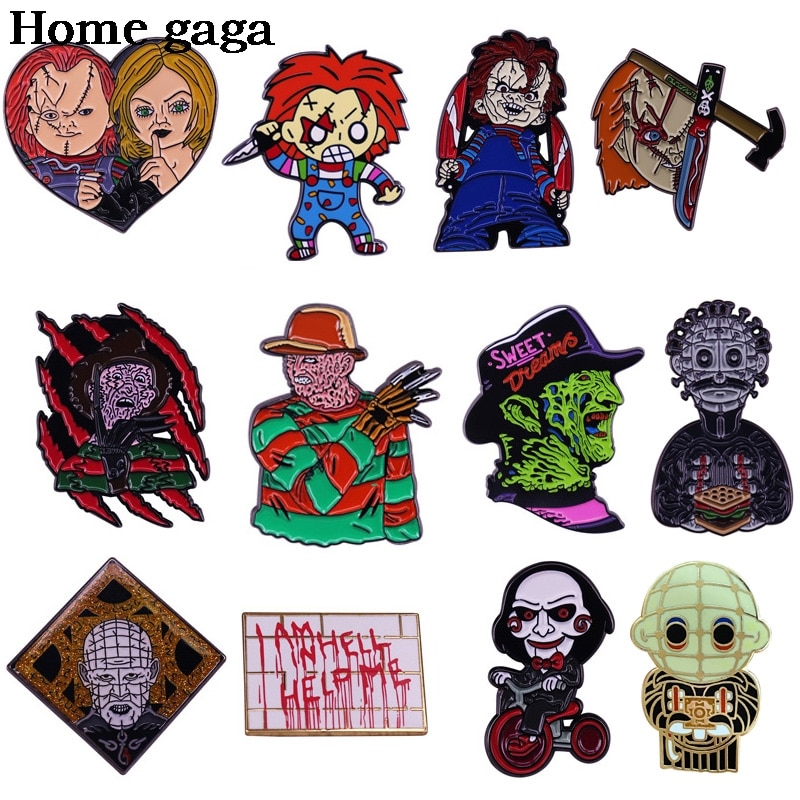 D3465 Homegaga Horror Movies Punk Enamel Pins Brooch Men Women Metal Lapel Pin Backpacks Badge Jewelry Gifts for Friends