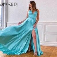 new listing elegant long prom dresses satin a line v neck floor length prom dress backless split party gowns vestido de festa