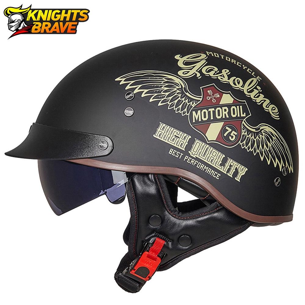Retro Vintage Casco Moto Unisex Motorcycle Helmet Open Face Scooter Biker Motorbike Racing Riding Helmet With DOT Certification