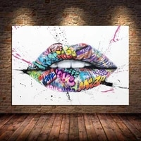 inspiration lips graffitti art canvas painting posters prints street kiss art wall art pictures for living room cuadros unframed