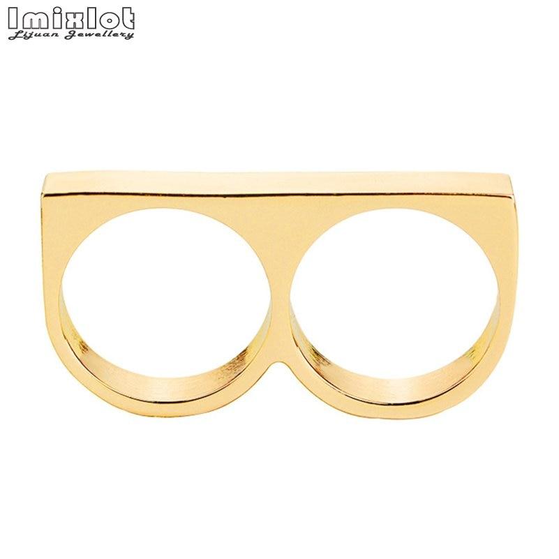 Imixlot Punk mujeres/hombres dos dedos anillos personalidad Hip Hop Acero inoxidable latón nudillos joyería anillo de moda