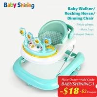baby shining toddler walker 6 15m anti o leg 5in1 multifunctional anti roll hand push rocking horse dinning chair 7 mute wheel