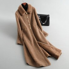 Real Fur Coat Women Winter Coat Women Clothes 2020 Mink Fur Collar Parka Real Fur Jacket Sheep Shearing Wool Jacket 19034 YY2350