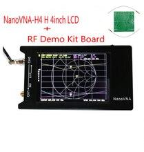 NanoVNA-H4 H 4 pulgadas LCD/previsiones de analizador de red + batería Original Hugen HF VHF UHF Analizador de antena + RF Demo Kit de junta