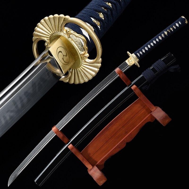 Japanese Katana T10 Steel Clay Tempered Blade Razor Sharp Ready For Battle Handmade Full Tang Real Sword