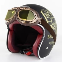 motorcycle electric vehicle protective helmet retro mens and womens summer half helmet with goggles personality suit