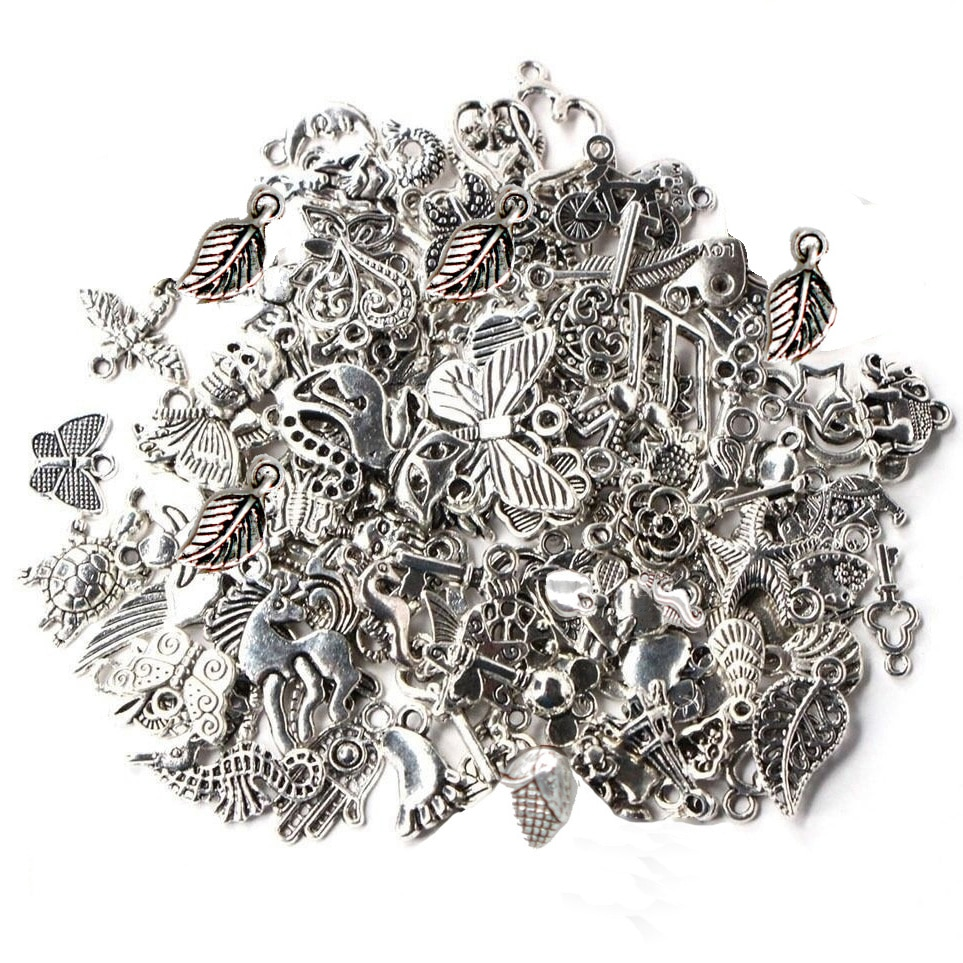 AliExpress - 19 Styles Mixed Vintage Tibetan Silver Beads for Jewelry Making Bracelet DIY Craft Clasps Hooks Pendant Charms