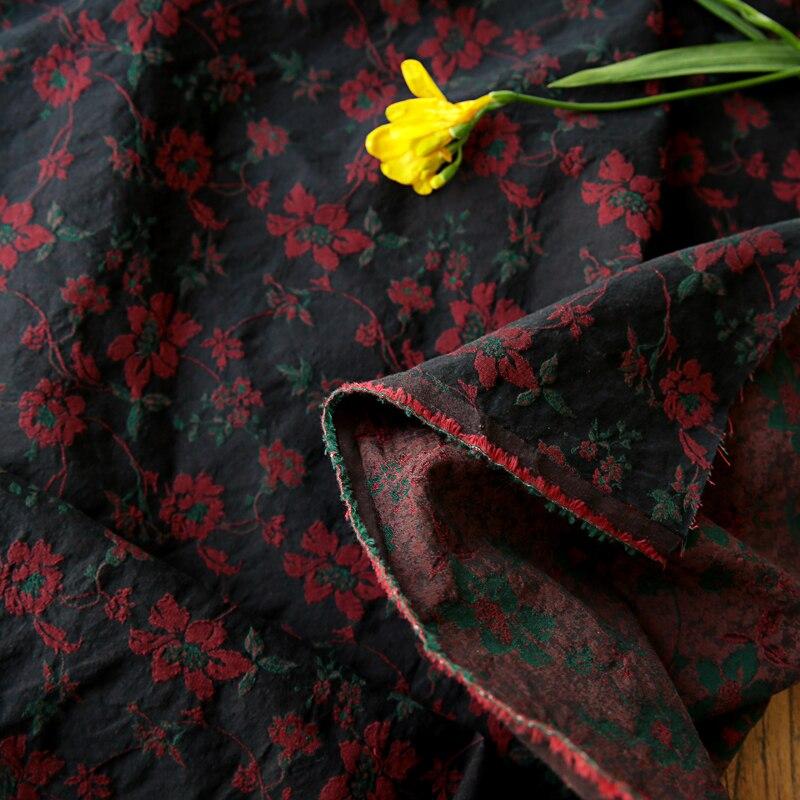 Quality cotton fabric  Double layer jacquard yarn dyed dark brown tissu New dress, robe, cheongsam tissus
