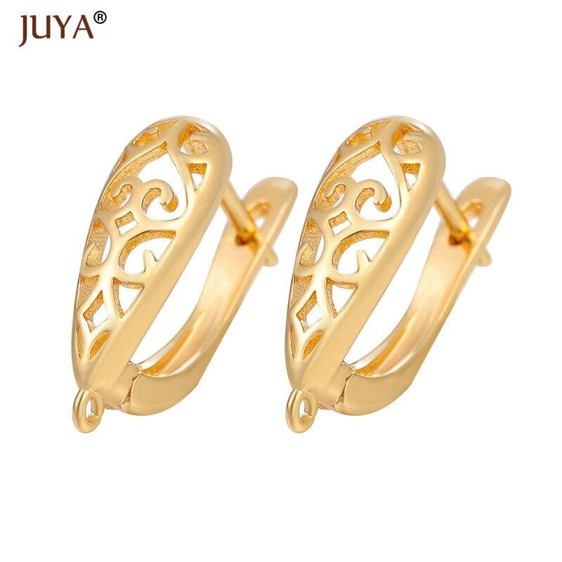 JUYA pendientes huecos broches de gancho oro/color de alta calidad cobre pendiente de Metal hallazgos para DIY mujer fabricación de joyas