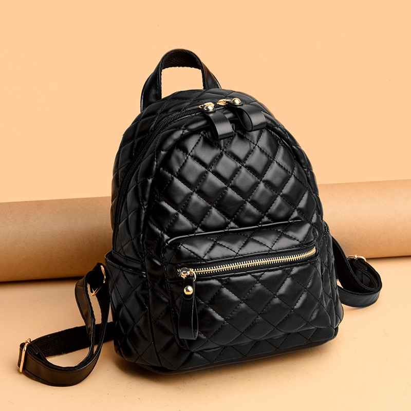 Rhombus Lattice Backpacks for Women Quality Pu Leather Travel Backpack Big Quilted Rucksack Ladys Large Capacity School Backpack