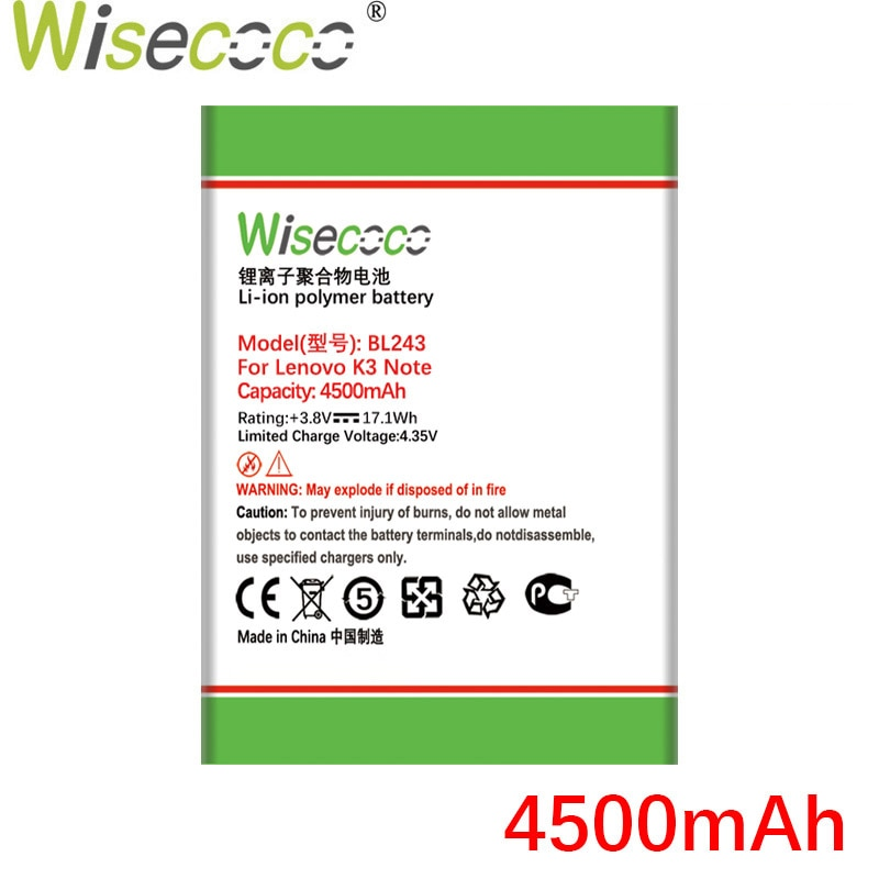 Wisecoco BL243 4500mAh New Battery For Lenovo K3 Note K50-T5 K50-T3S A7000 A5500 A5860 A5600 A7600 battery Replacement