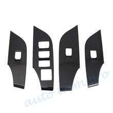 Carbon Fiber Door Side Armrest Lift Switch Button Panel Cover Trim Accessories Fit For Toyota RAV4 2019 2020