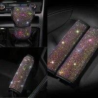 3pcsset crystal diamond seat belt cover gear shift knob cover handbrake cover rhinestone leather handcraft car accessories