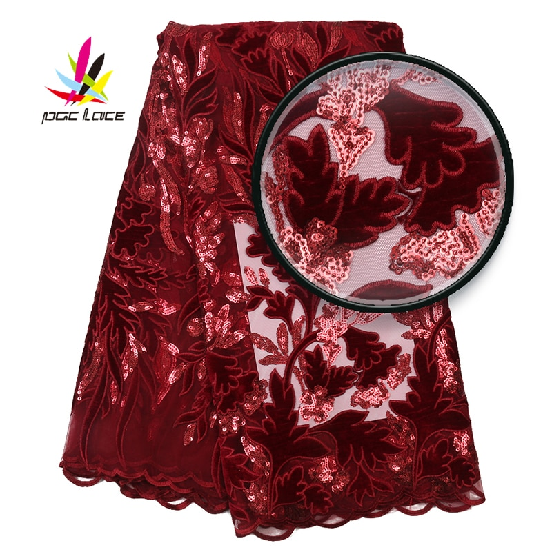 Velvet Fabric Lace Wine Red Burgundy Color Sequins French African Nigerian Latest Design High Quality Tulle 2020 For Dress