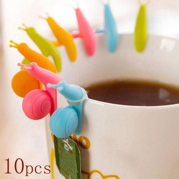 5/10 pçs bonito doces cores caracol requintado forma silicone saco de chá titular ferramentas de chá