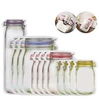 lmetjma 12 pieces mason jar zipper bags reusable snack saver bag leakproof food sandwich storage bags for travel kids kc0216