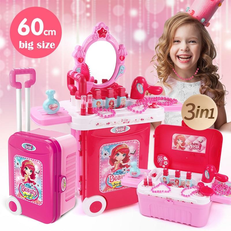 Набор для макияжа для девочек, принцесса, косметика, одежда, ролевые игры, макияж, игрушки для детей, принцесса, наряд, ожерелье, красивые игр...