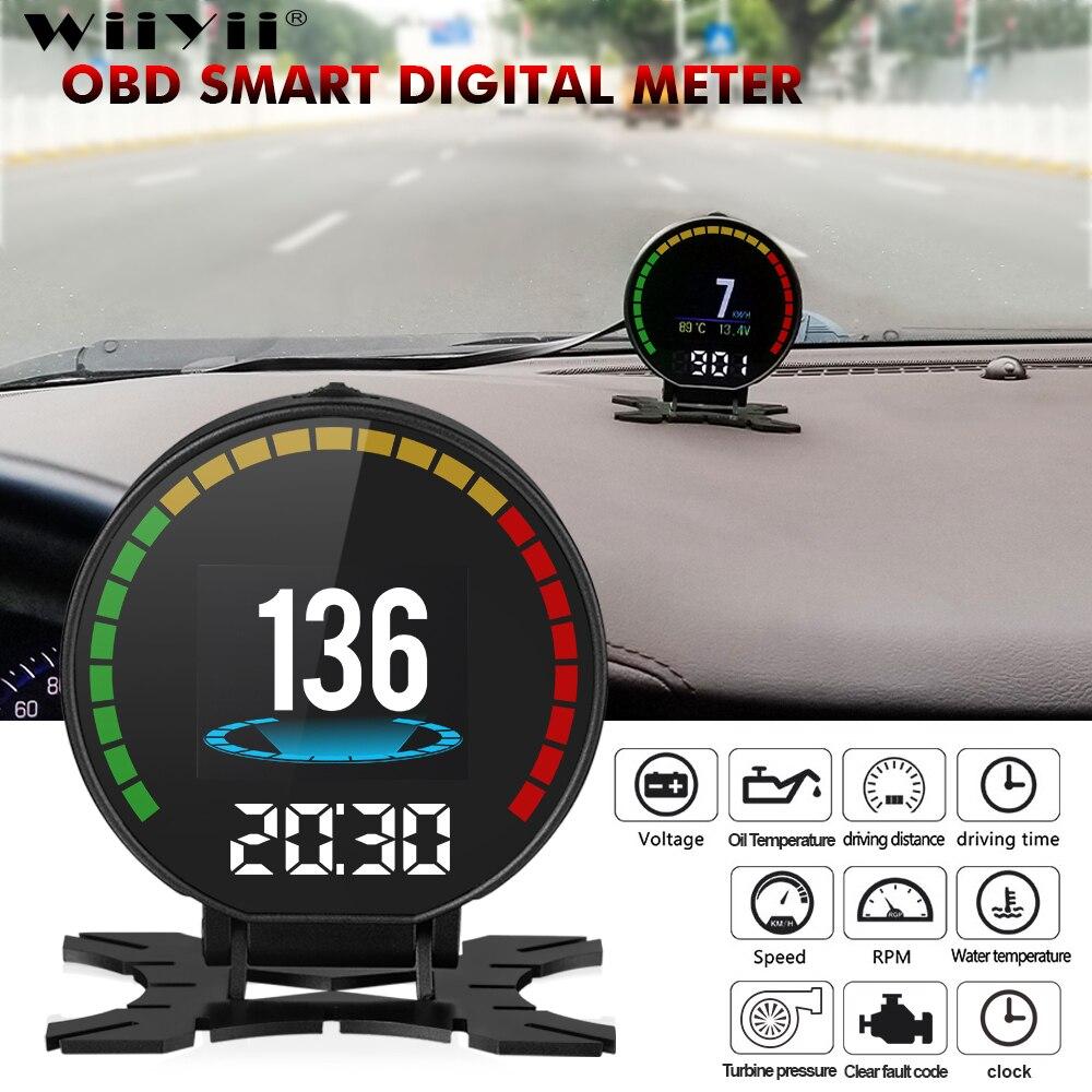 Pantalla 48 datos de coche ecus HUD Head Up Display 2,8 pulgadas P15 OBD Ⅱ inteligente medidor Digital de coche HUD