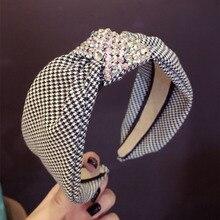 Haimeikang Luxury Rhinestone Top Knot Hairband Headband for Women Elegant Plaid Pattern Hair Band Hoop Accessories
