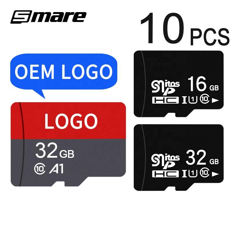 Custom Logo Wholesale Real Capacity Memory Card 10PCS  32GB 16GB 8GB 64GB 128GB 256GB Micro SD Card Class10 U1 U3 SD Original Me