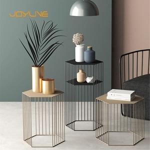 JOYLIVE Northern European-Style Iron Simple Coffee Table Living Room Balcony Multi-Function Sofa Side Table Office Corner Table