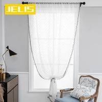 modern geometric white sheer curtains for living room waves window tulle curtain bedroom voile tassels pompom blind custom panel