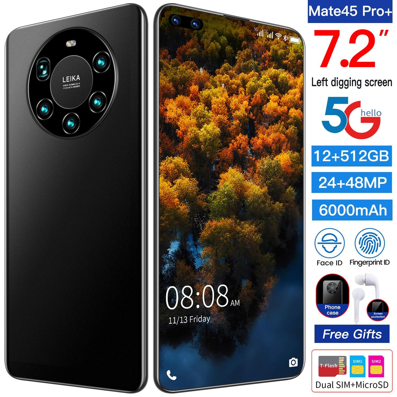 الإصدار العالمي من الهاتف المحمول Mate45 Pro + شاشة 7.2 بوصة الهاتف الذكي ثماني النواة 5000mAh 8GB 256GB 4G LTE 5G