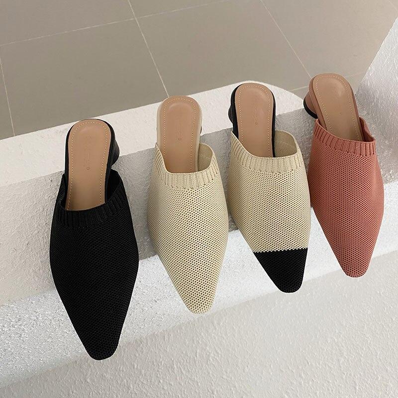 Moda dedo do pé apontado feminino chinelos de malha slide mules sapatos de salto redondo chinelos casuais slides de verão ao ar livre sapatos confortáveis