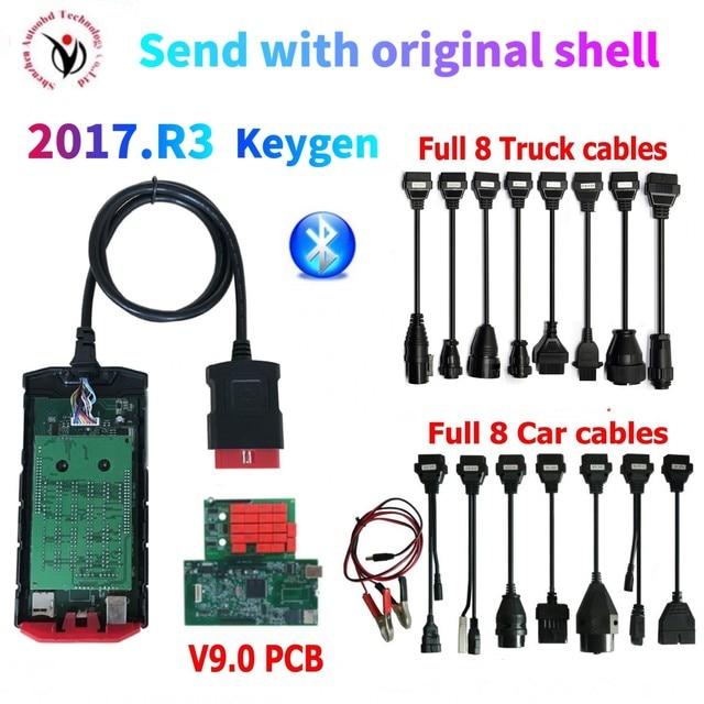 Новинка 2021, плата v9.0 vd ds 150e cdp с bluetooth 2017.R3 генератор ключей на dvd OBD2 сканер инструмент для delphis + 8 автомобильных/грузовых кабелей на выбор