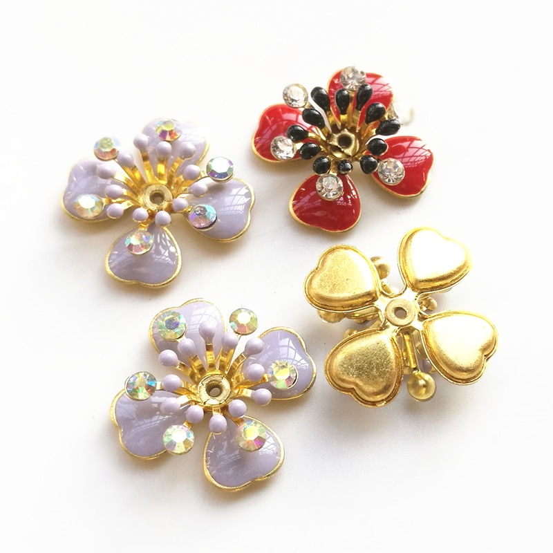 20 Pieces/lot 19mm New Oil Drop Red/Purple Color Brass Filigree Rhinestone Flower Slice Charms DIY Bag Hair Accessories Jewelry