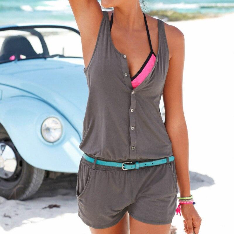 Ropa de playa Casual verano Mujer Mono corto moda sin mangas botón Playsuits Boho Sexy gris negro cuello redondo monos