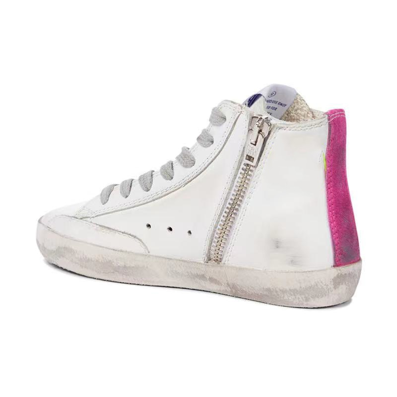 Autumn and Winter Product Parent-child Casual Toe Top Layer Cowhide Retro Old Fashion Non-slip High-top Children's Shoes QZ143 enlarge