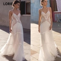 lorie bohemia wedding dresses lace 2020 v neck spaghetti straps sleeveless soft tulle beach bridal gown vintage marriage gowns