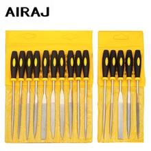 AIRAJ 5 pçs/set Profissional Tecnologia de Diamante Arquivo 3X140mm Jangada Agulha Ferramenta De Corte De Metal De Metal De Vidro Escultura Em Pedra