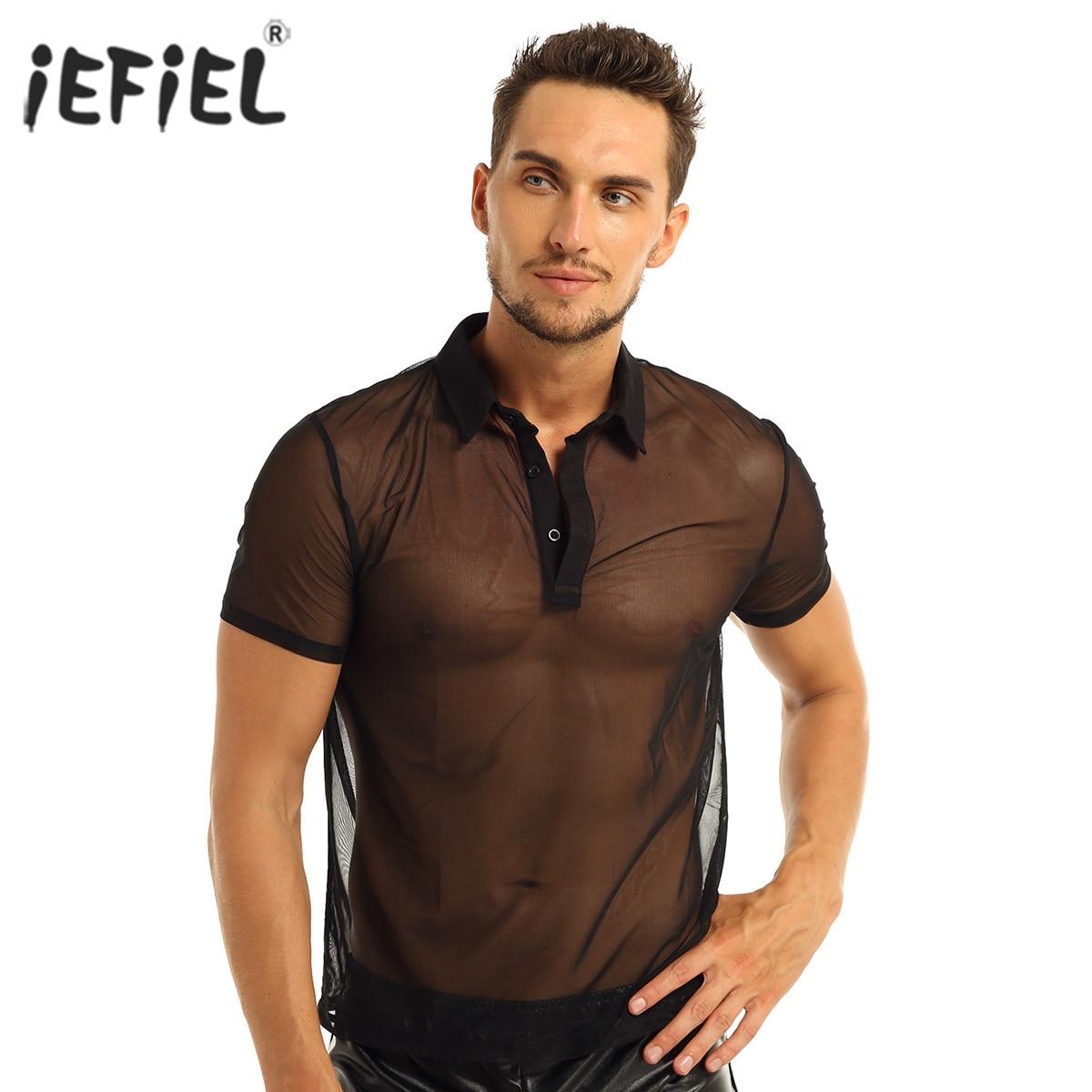 Sexy camiseta de malha transparente masculino tops fitness wrestling singlets erótico mangas curtas turn-down coletes masculinos