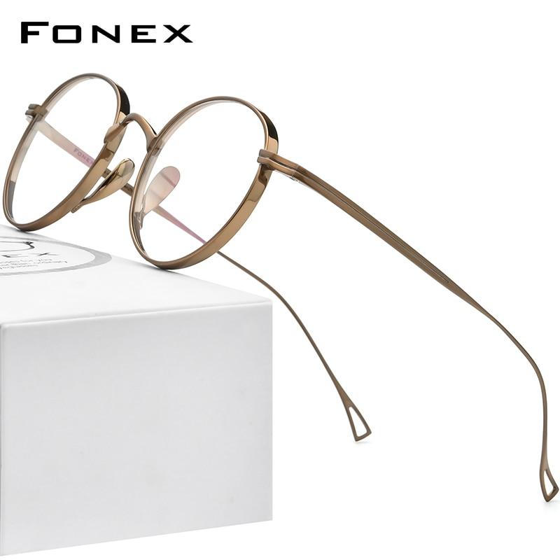 FONEX التيتانيوم النقي النظارات الإطار الرجال الرجعية الجولة وصفة النظارات النساء 2021 جديد Vintage قصر النظر النظارات البصرية F85651