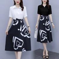 lady office shirt dress summer short sleeve high waist patchwork fake two piece midi dresses women fashion 5xl size clothes