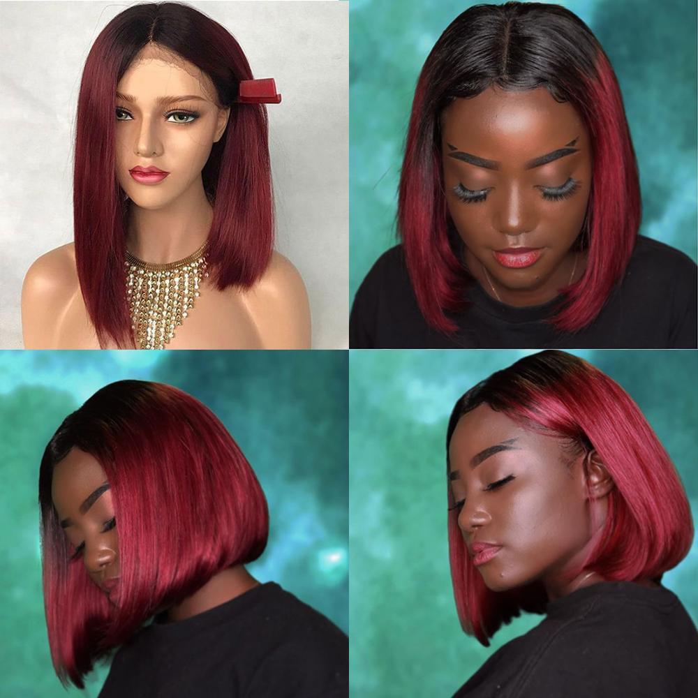 Closure Wig Ombre Human Hair Wig 99j Burgundy Closure Wig Straight Short Human Hair Wig Closure Wig Bob Wigs Bob Lace Front Wigs