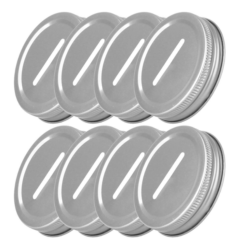 8 tapas de hucha con ranura para monedas cubiertas de tapa de Metal de acero inoxidable para 70mm jarras Mason almacenamiento bola conservas jarras ranuradas tapas para insertar