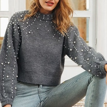 2021 Autumn Winter Fashion Knitting Sweater Solid Color Beading Round Neck Long Sleeve Casual Simpli