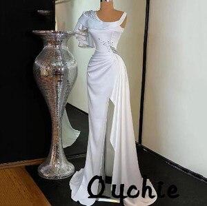 White One Shoulder Satin High Split Evening Dresses Scoop Ruffle robe soiree Islamic Dubai Kaftan Saudi Arabic Prom Gown