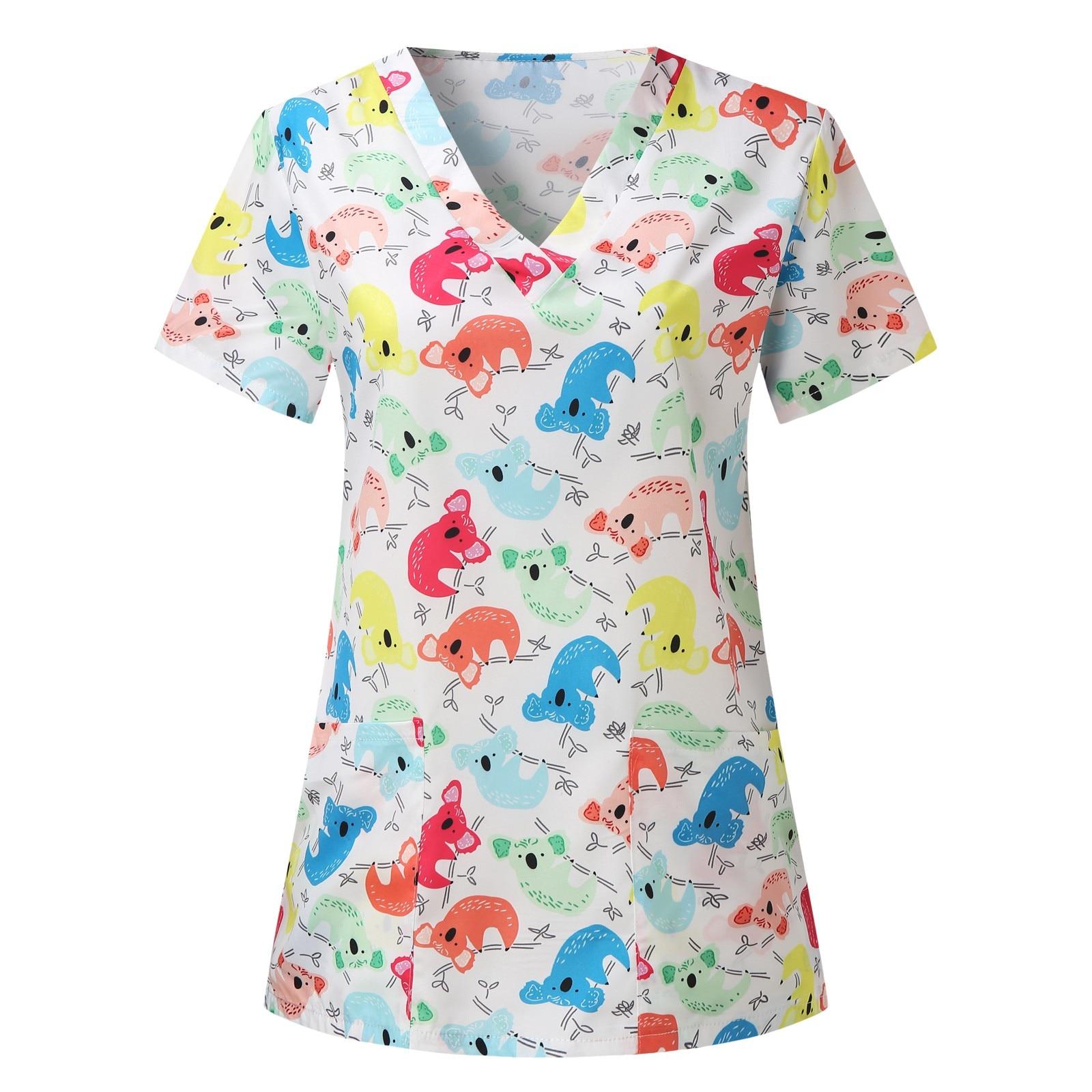 Nurse Uniform Workwear Tops Pattern Printing V-neck Blouse Tops Scrubs Short Sleeve Women Breathable Pharmacy Nursing Uniform pharmacy