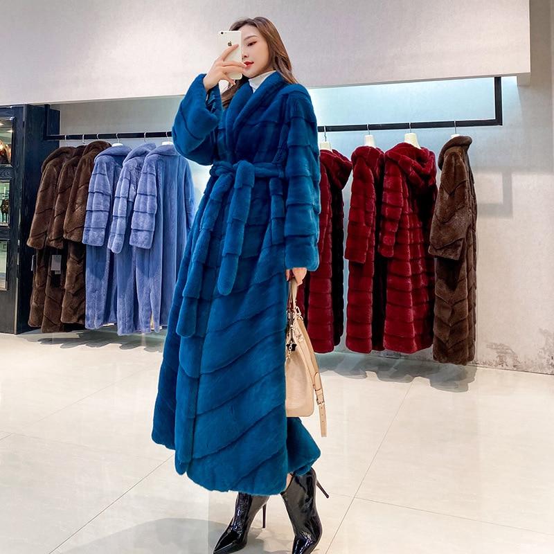 Оригинальные импортные норковые пальто, роскошные натуральные длинные куртки из цельного меха норки XL, женские теплые зимние пальто выше к...