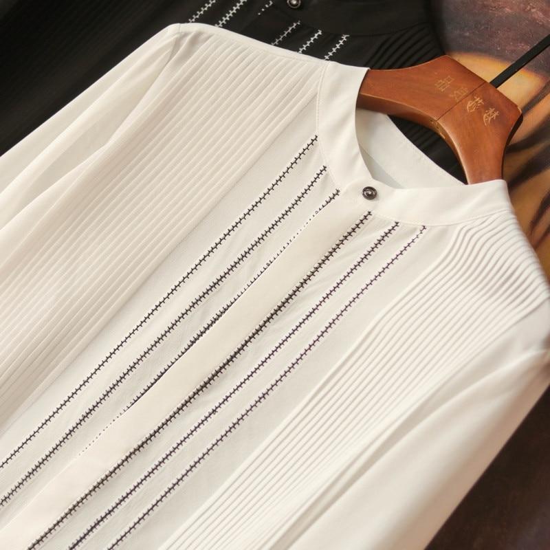Women's Autumn Blouses Heavy Industry Thin Long Sleeve Solid Silk Shirt