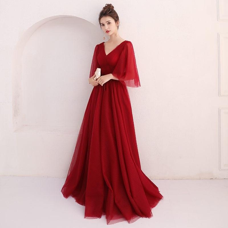 Moda vino rojo banquete vestidos de noche Sexy profundo cuello en V hasta el piso Vestido de fiesta de graduación Vestido para mujer en tallas grandes Vestido de fiesta