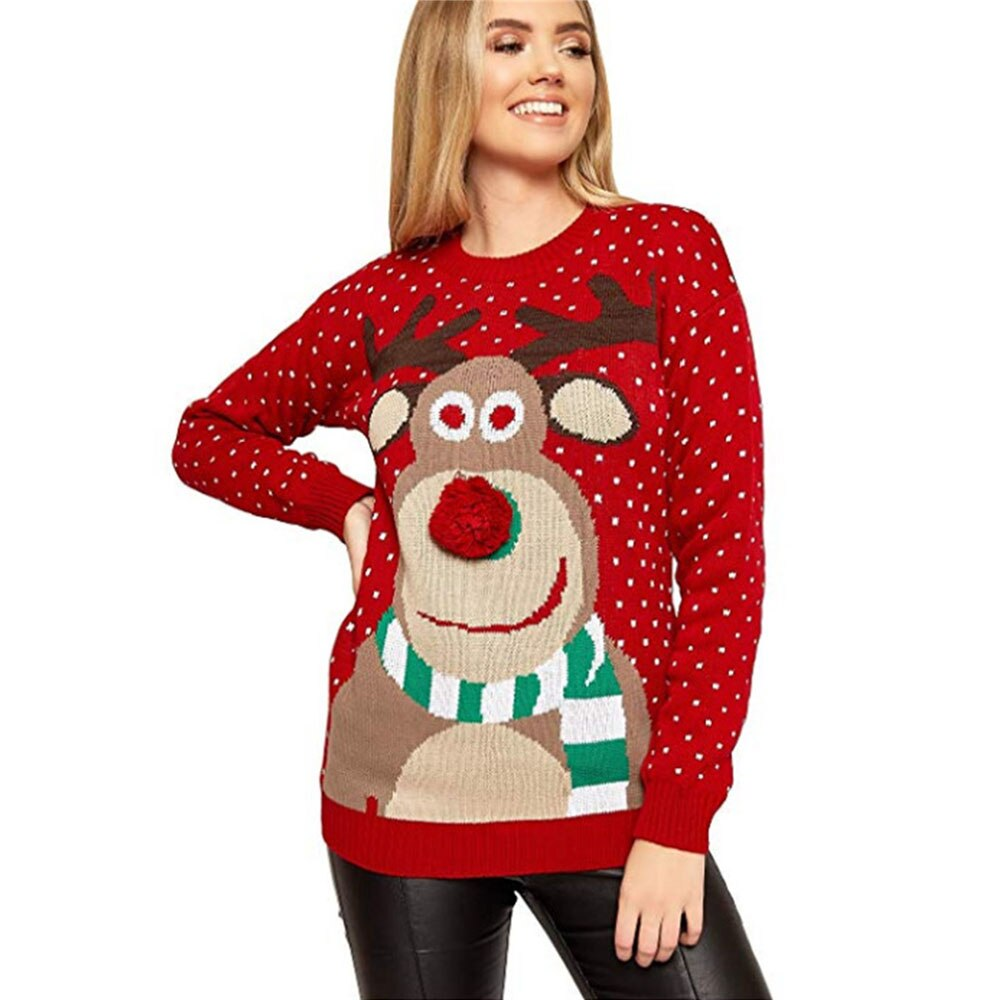Suéter de Navidad para mujer, suéter cálido de ciervo, suéter de punto de manga larga para niñas, suéter de Navidad, blusa superior, abrigo de invierno