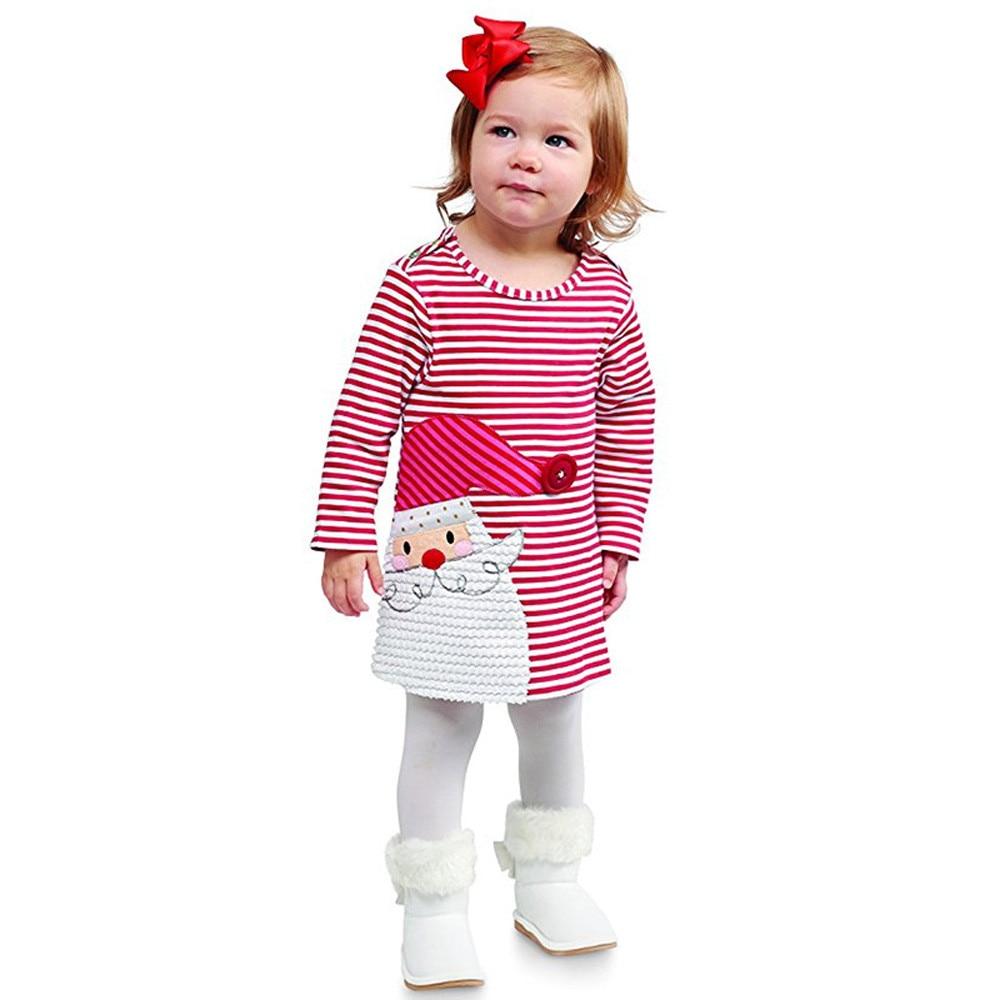 Vestido a la moda de Navidad para niños y niñas, vestido de princesa con estampado de Santa Claus de manga larga para niñas, vestido de otoño