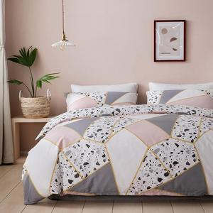 100% nature-nordic style cotton linen bed cover for home, soft duvet cover set, king size bedding set with pillowcase